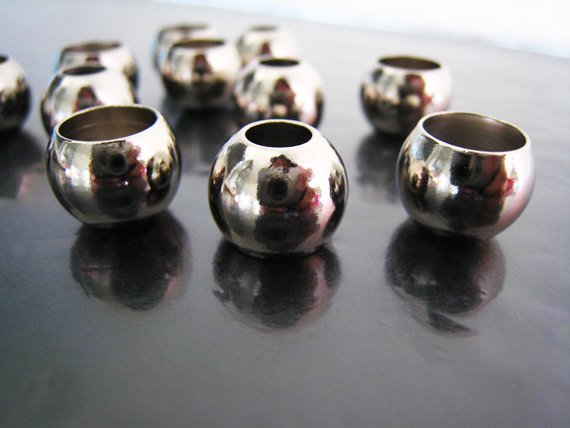 Finding - 6 pcs Silver Spacers Beads End Cap with Large Hole 12mm x 10mm ( Hole 8.5mm and 5.5.mm )