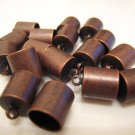 Finding - 6 pcs Red Copper Round End Cap with Loop 12.5mm x 9mm ( inside 8mm Diameter )