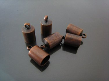 Finding - 6 pcs Red Copper Round End Cap with Loop 12mm x 7mm ( inside 6mm Diameter )