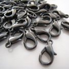 Finding - 10 pcs Black Solid Mini Lobster Claw Clasp Closure 12mm x 7mm