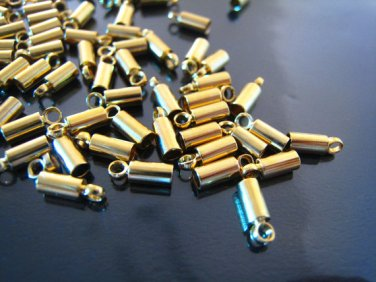Finding - 10 pcs Gold Round Tone Cord Buckle End Cap with Loop ( inside 2mm Diameter )