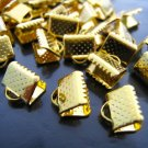 Finding - 10 pcs Gold Plated Flat Clamp Fold Over End Cap Crimps with Loop ( 8mm )