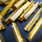 Finding - 6 pcs Gold Plated Flat Clamp Fold Over End Cap Crimps With Loop ( 40mm or 1 9/16 inch )