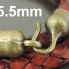 Finding - 2 Sets Antique Brass End Cap S Hook Toggle Clasp Clousure Buckle ( Inside 5.5mm Diameter )