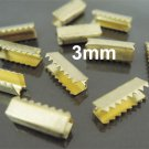 Finding - 10 pcs Antique Gold Plated Flat Clamp Fold Over End Cap Crimps ( Inside 3mm )