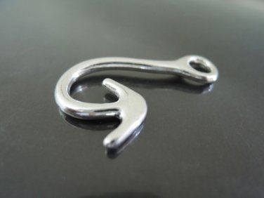 Finding - 2 pcs Antique Silver Hook Clasp 35mm x 22mm ( Inside 5mm Hole )