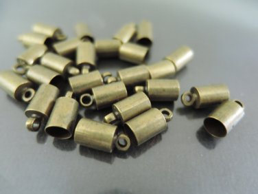 Finding - 10 pcs Antique Brass Round End Cap with Loop 10mm x 5mm ( inside 4mm Diameter )