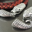 Finding - 1 Set Antique Silver Snake Head Shaped  Ends Cap with Tail S Hook ( inside 6mm )