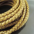 Half Yard 6mm Metallic Gold Genuine Braided Round Leather Cord