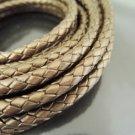 Half Yard 6mm Metallic Copper Genuine Braided Round Leather Cord