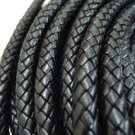 Half Yard 10mm Black Genuine Braided Round Leather Cord