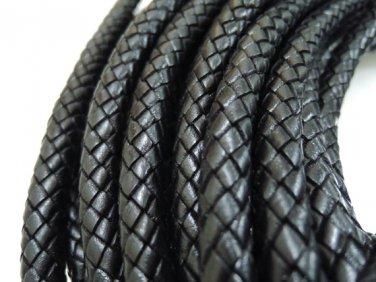 Half Yard 10mm Black Genuine Braided Round Leather Cord