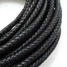 Half Yard 9mm Black Genuine Braided Round Leather Cord