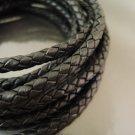 Half Yard 8mm Black Genuine Braided Round Leather Cord
