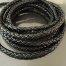 1 Yard 4mm Black Genuine Braided Round Leather Cord