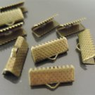 Finding - 20 pcs Antique Brass Flat Clamp Fold Over End Cap Crimps with Loop ( 16mm or 5/8 inch )