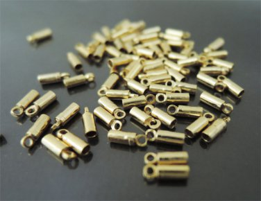 Finding - 20 pcs Gold Round Tone Cord Buckle End Cap with Loop ( inside 1mm Diameter )