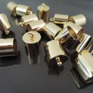 Finding - 6 pcs Gold Round Large Tone Cord Buckle End Cap with Loop ( inside 9mm Diameter )