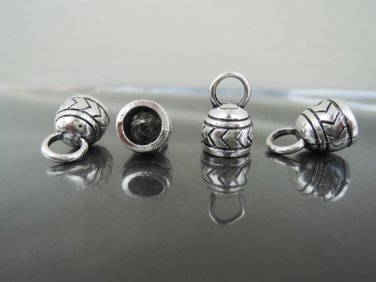 Finding - 4 pcs Antique Silver End Caps with Loop 17mm x 11mm ( inside 7mm Diameter )
