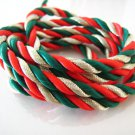 1 Yard of 5mm Red Green and Gold Color Braided String Cord