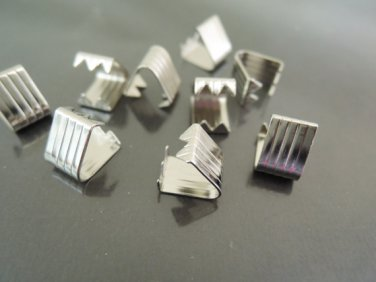 Finding - 10 pcs Silver Plated Adjustable Fold Over End Cap Crimp without Loop ( 10mm x 7.5mm )