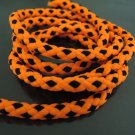 1 Yard of 6mm Neon Orange and Black Striped String Round Braided Trim Cotton Rope Cord