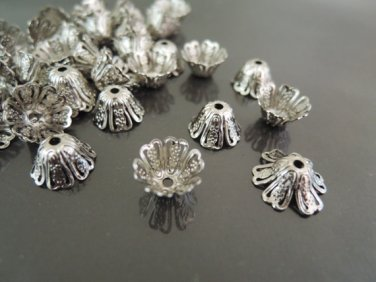 Finding - 20 pcs Silver Plated Large Brass Filigree Bead Casp Bead Cones with Hole 11mm x 6mm