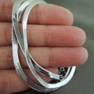 1 Set Silver Flat Snake Chain Necklace 3mm with Lobster Clasp ( Length 400mm )