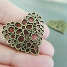 Finding - 2 pcs Antique Brass Love Charm Decoration 25mm x 24mm