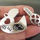 Finding - 1 Set Antique Silver Big Heart Love Charm Pendant BEST FRIENDS Word with Key 37mm x 25mm