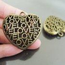 Finding - 1 pc Antique Brass Big Heart Love Charm Pendant 35mm x 35mm x 11mm