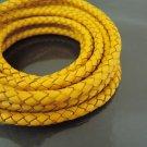 1 Yard 6mm Yellow Genuine Braided Round Leather Cord