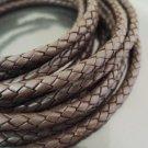 1 Yard 6mm Dark Brown Genuine Braided Round Leather Cord
