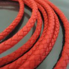 1 Yard 6mm Red Genuine Braided Round Leather Cord