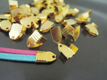 Finding - 20 pcs Gold Plated Flat Clamp Fold Over End Cap Crimps ( Inside 6mm )