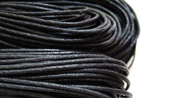 2 Yards 1.5mm Black Round Cotton Wax Cords