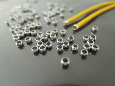 Finding - 20 pcs Silver Metal Crimp Beads Spacer 3mm x 1.5mm ( Inside 2mm )