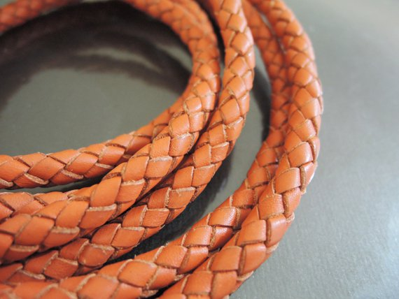 1 Yard 6mm Orange Genuine Braided Round Leather Cord
