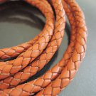 1 Yard 6mm Orange Genuine Braided Round Leather Cord