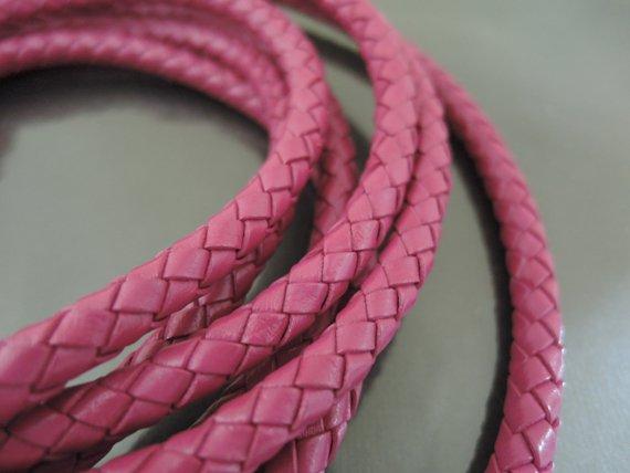 1 Yard 6mm Hot Pink Genuine Braided Round Leather Cord