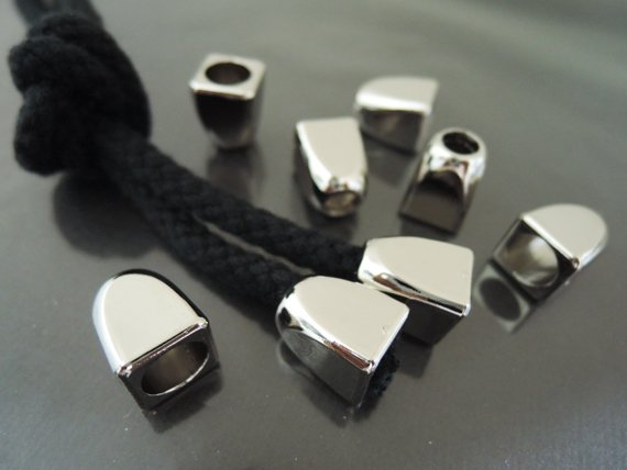 Finding - 10 pcs Silver Plastic Round Tone Cord End Cap with Two Holes 14mm x 12mm