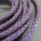1 Yard 5mm Violet Purple Genuine Braided Round Leather Cord