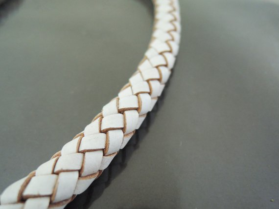 Half Yard 9mm White Genuine Braided Round Leather Cord