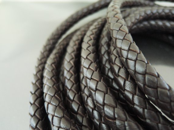 Half Yard 8mm Brown Genuine Braided Round Leather Cord