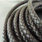 Half Yard 8mm Brown Genuine Braided Round Leather Cord