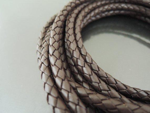 1 Yard 5mm Brown Genuine Braided Round Leather Cord