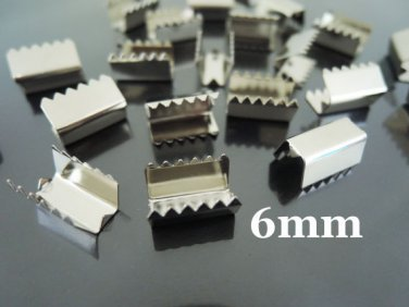 Finding - 10 pcs Silver Plated Flat Clamp Fold Over End Cap Crimps ( Inside 6mm )