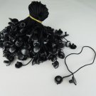 100pcs Black Hang Tag String with Round Plastic Fastener