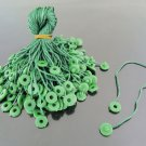 100pcs Green Hang Tag String with Round Plastic Fastener