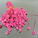100pcs Hot Pink Hang Tag String with Round  Plastic Fastener